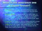 what is the assurance one is saved forever