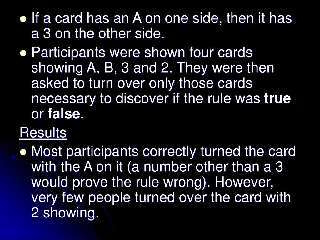 If a card has an A on one side, then it has a 3 on the other side.