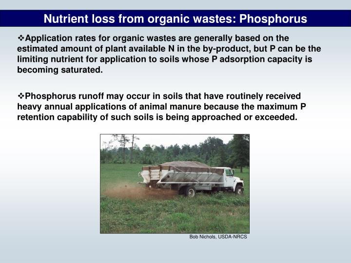 Nutrient loss from organic wastes: Phosphorus