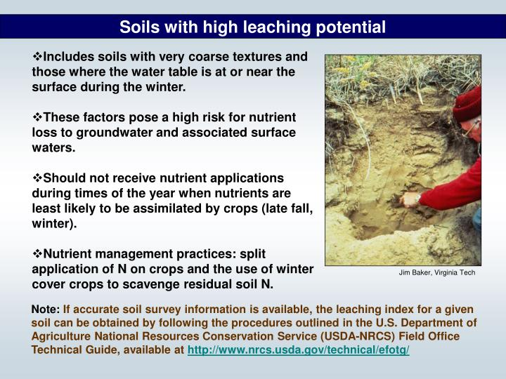 Soils with high leaching potential