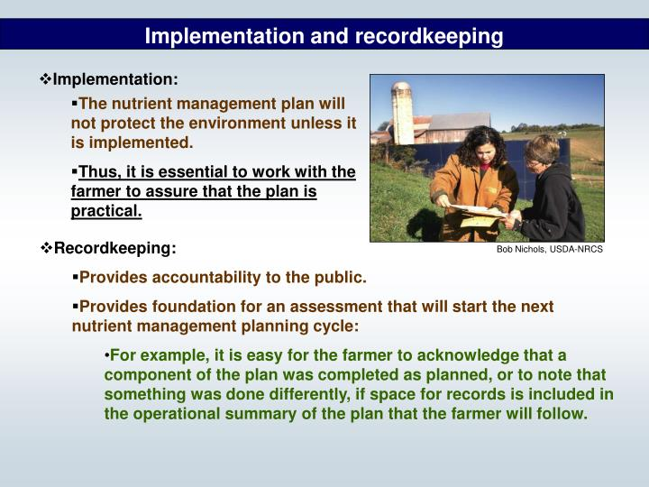 Implementation and recordkeeping