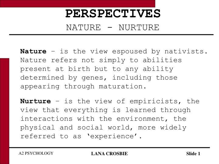 perspectives nature nurture n.