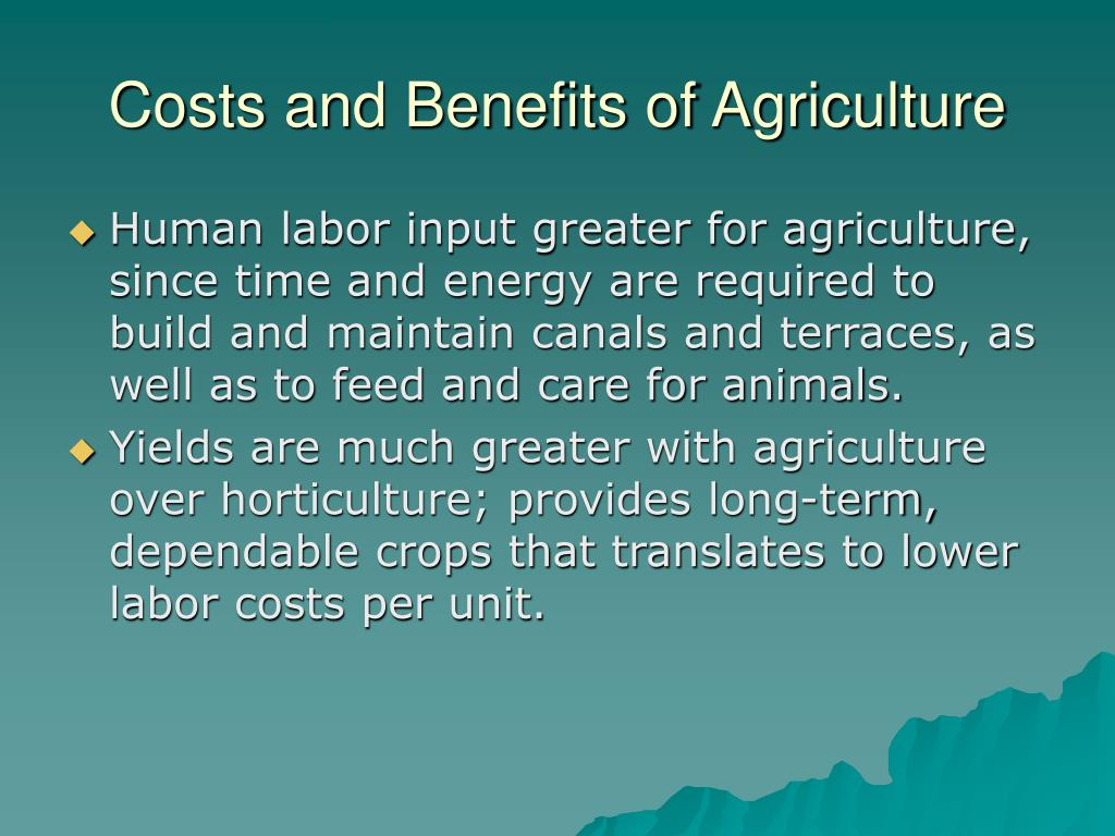 Costs and Benefits of Agriculture