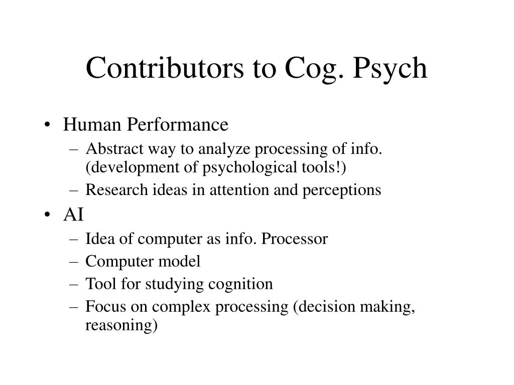 Contributors to Cog. Psych