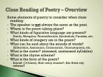 close reading of poetry overview