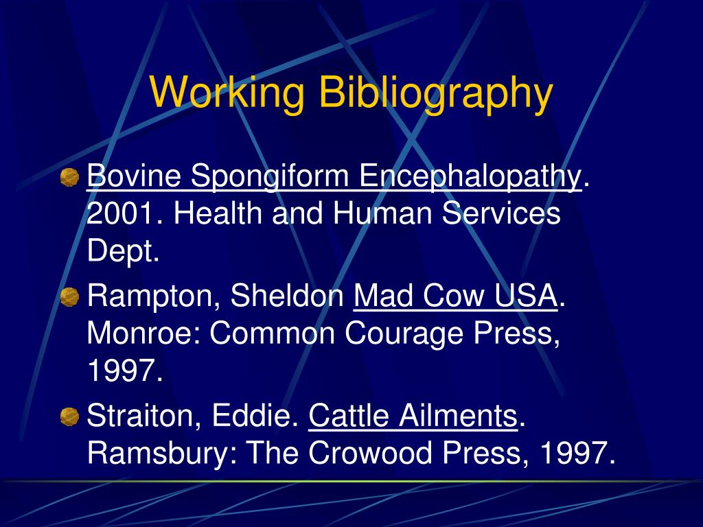 Working Bibliography
