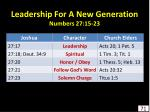 leadership for a new generation numbers 27 15 23