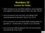 numbers 10 lessons for today