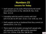 numbers 25 lessons for today