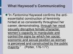 what haywood s communicating