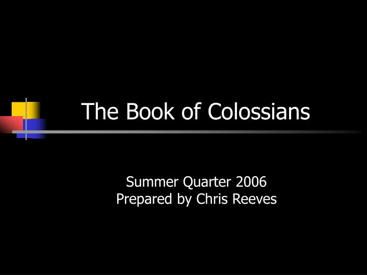 the book of colossians n.