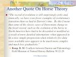 another quote on horse theory
