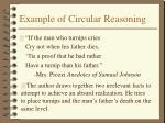 example of circular reasoning