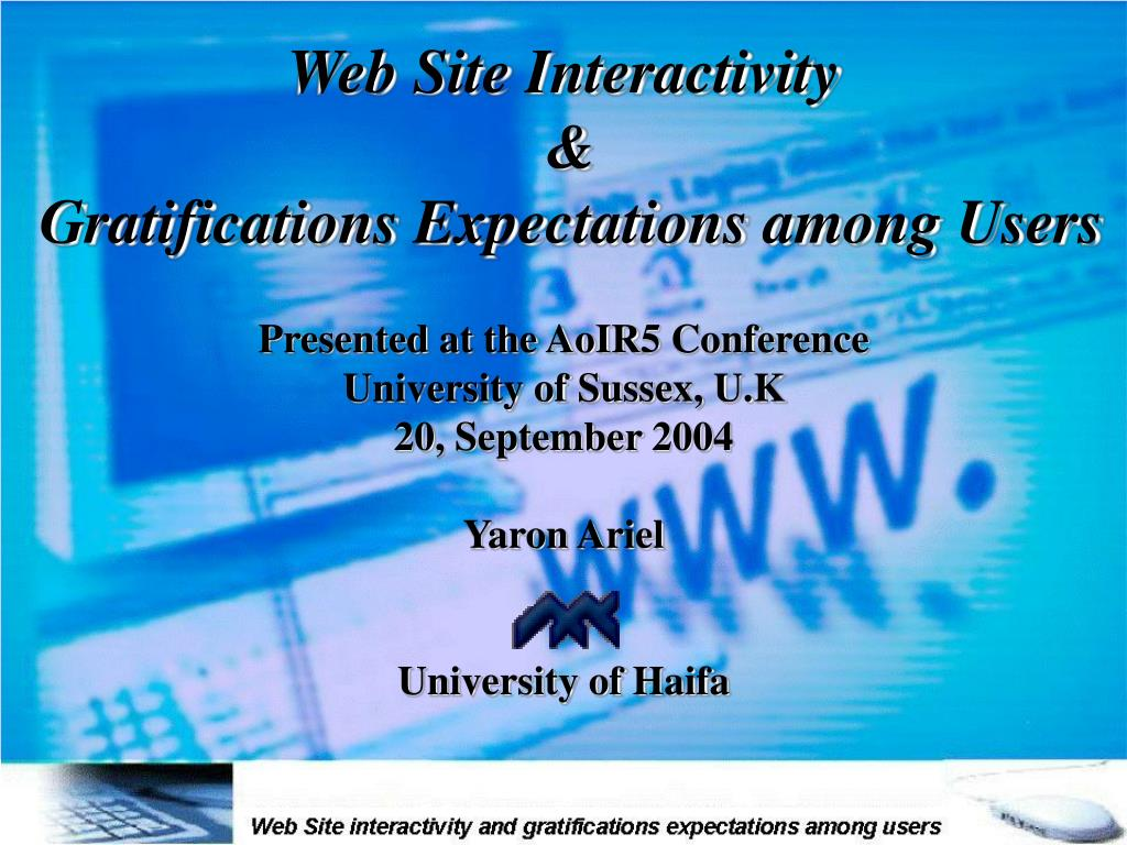 web site interactivity gratifications expectations among users l.