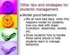other tips and strategies for students management