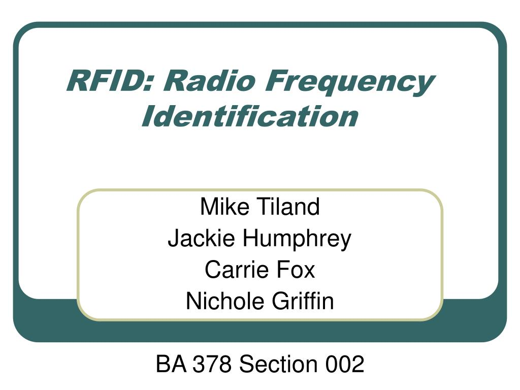 rfid radio frequency identification l.