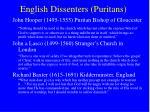 english dissenters puritans
