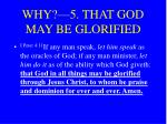 why 5 that god may be glorified