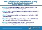 who procedure for the preparation of drug quality control specifications 2 or why it takes so long