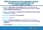 who procedure for the preparation of drug quality control specifications 3 or why it takes so long