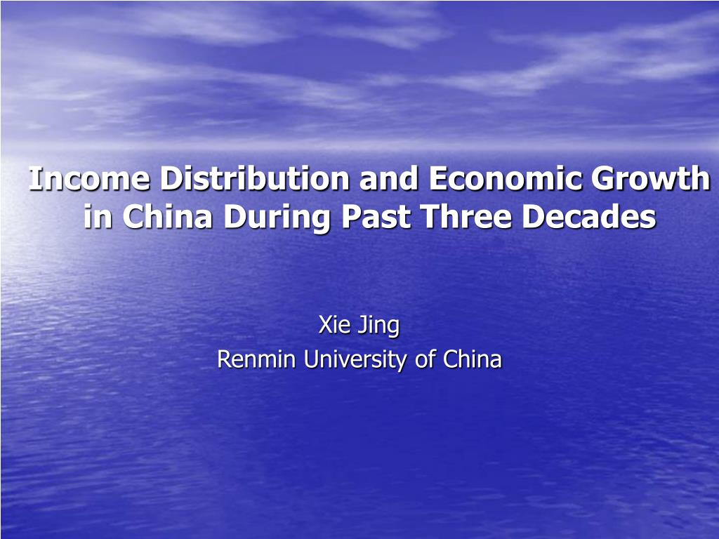 income distribution and economic growth in china during past three decades l.