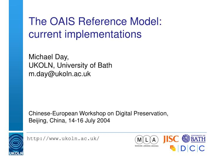 the oais reference model current implementations n.