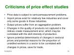 criticisms of price effect studies