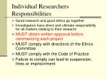 individual researchers responsibilities