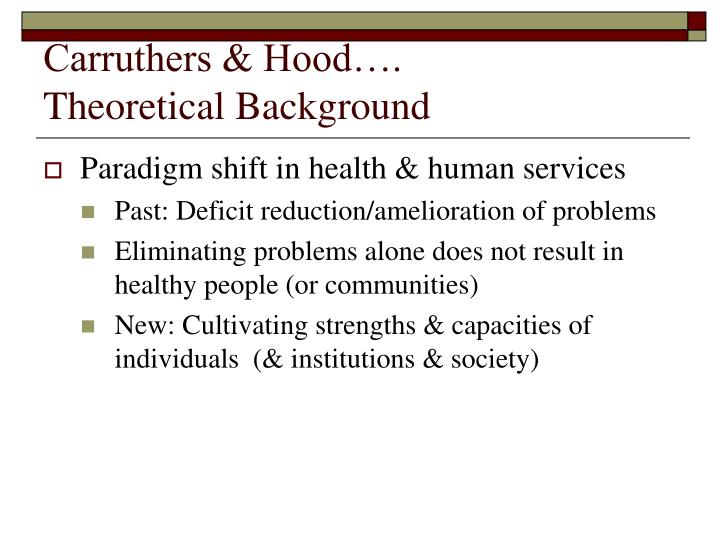 Carruthers hood theoretical background