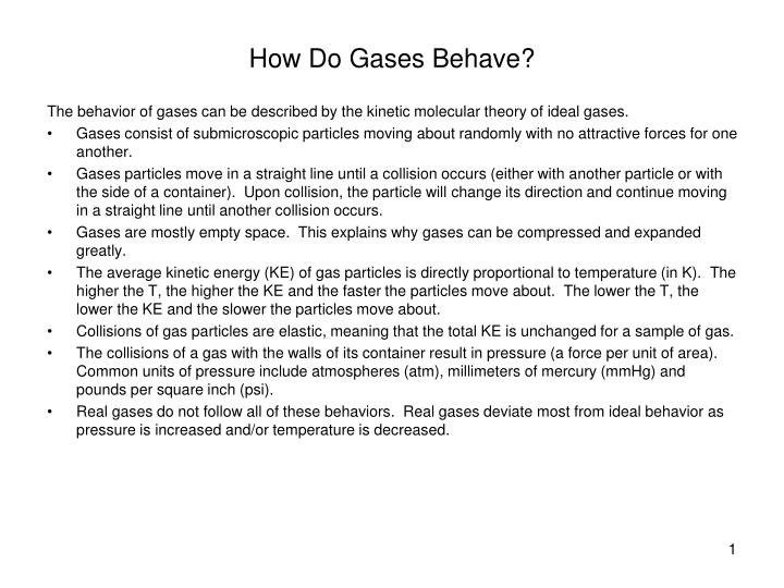 how do gases behave n.