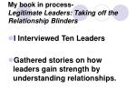my book in process legitimate leaders taking off the relationship blinders