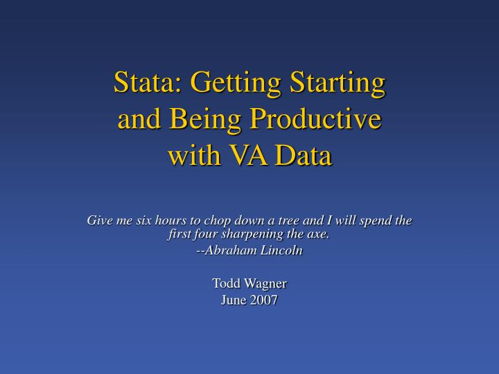 stata getting starting and being productive with va data n.