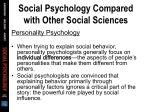 social psychology compared with other social sciences