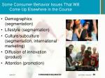 some consumer behavior issues that will come up elsewhere in the course