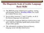 the diagnostic scale of arabic language basic skills
