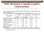 wisc iii jordan 2 specific cognitive characteristics