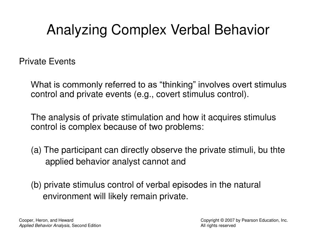 Analyzing Complex Verbal Behavior