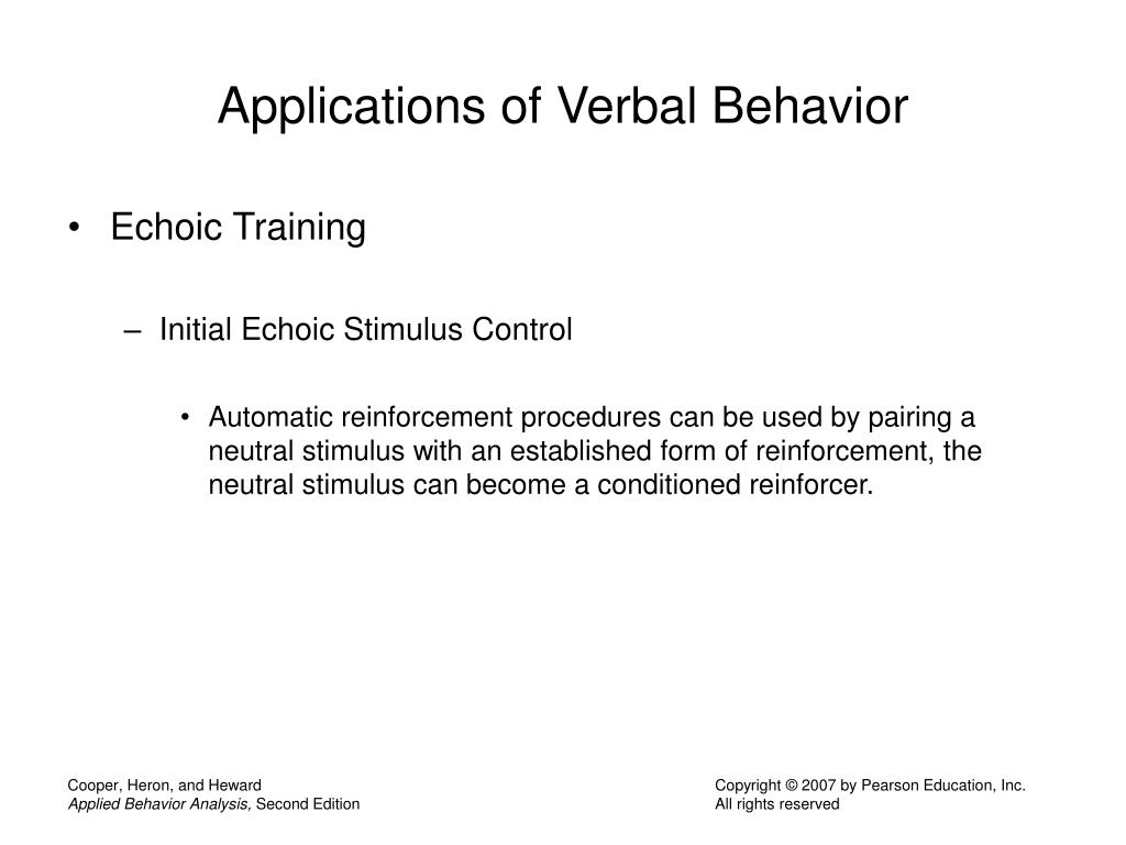 Applications of Verbal Behavior