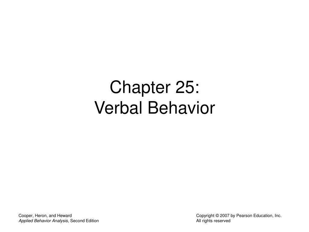 chapter 25 verbal behavior l.
