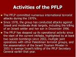 activities of the pflp