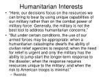 humanitarian interests
