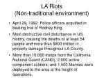 la riots non traditional environment