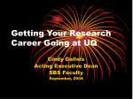 getting your research career going at uq