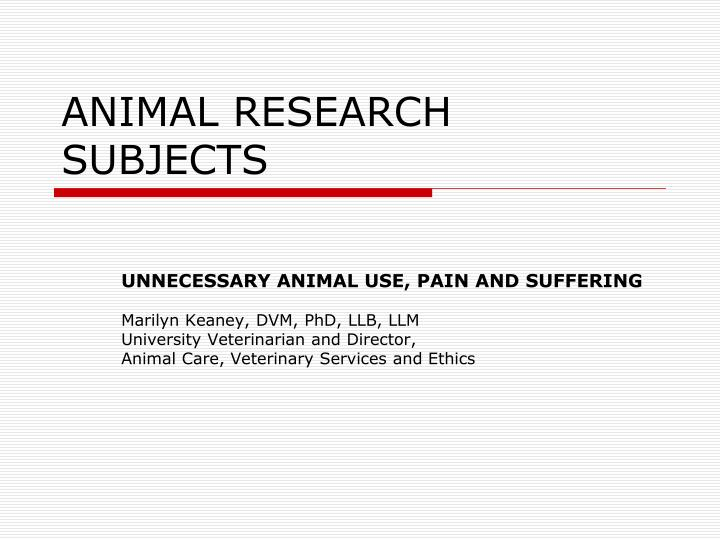 Animal research subjects
