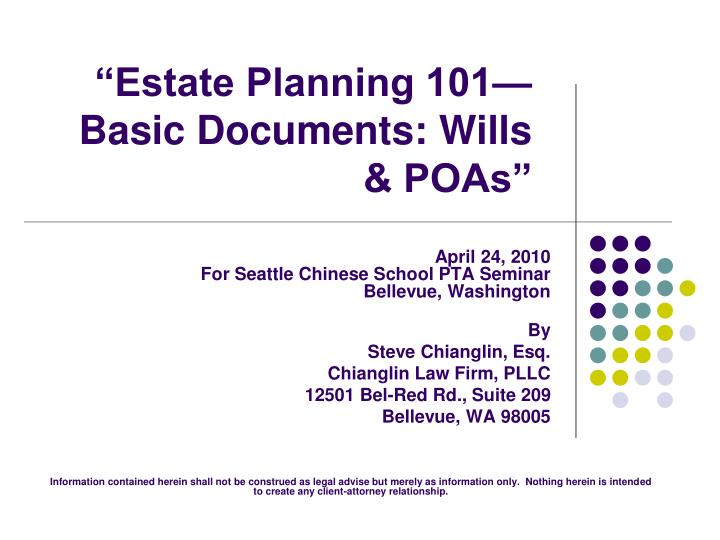 estate planning 101 basic documents wills poas n.