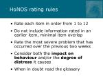 honos rating rules