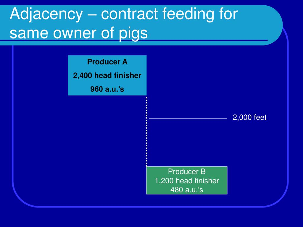 Adjacency – contract feeding for same owner of pigs