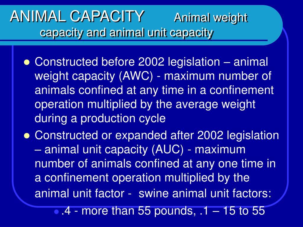 ANIMAL CAPACITY