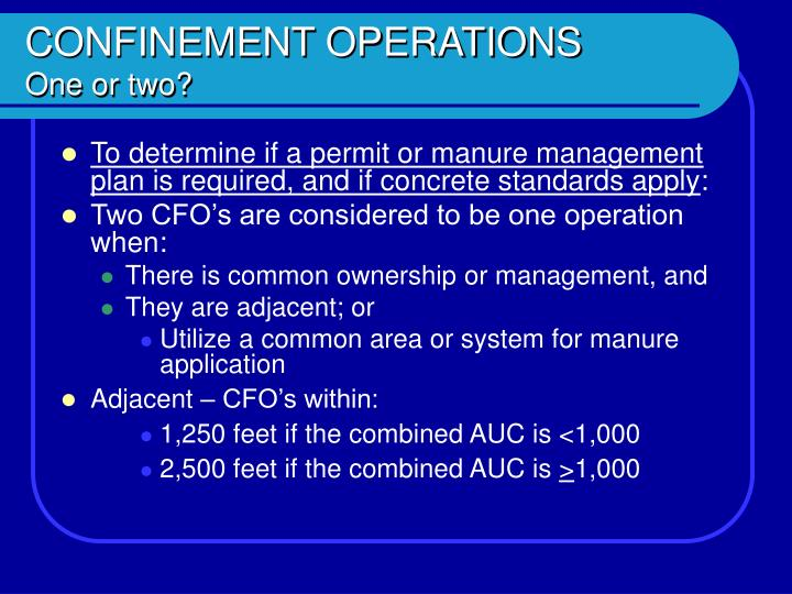 Confinement operations one or two