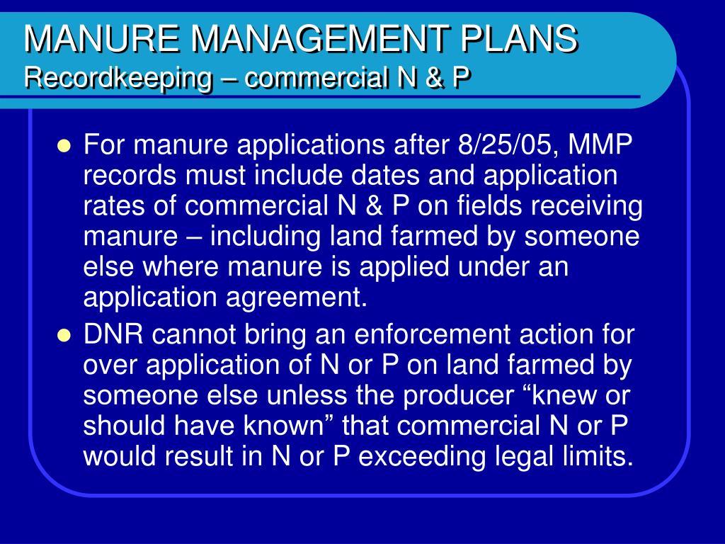 MANURE MANAGEMENT PLANS